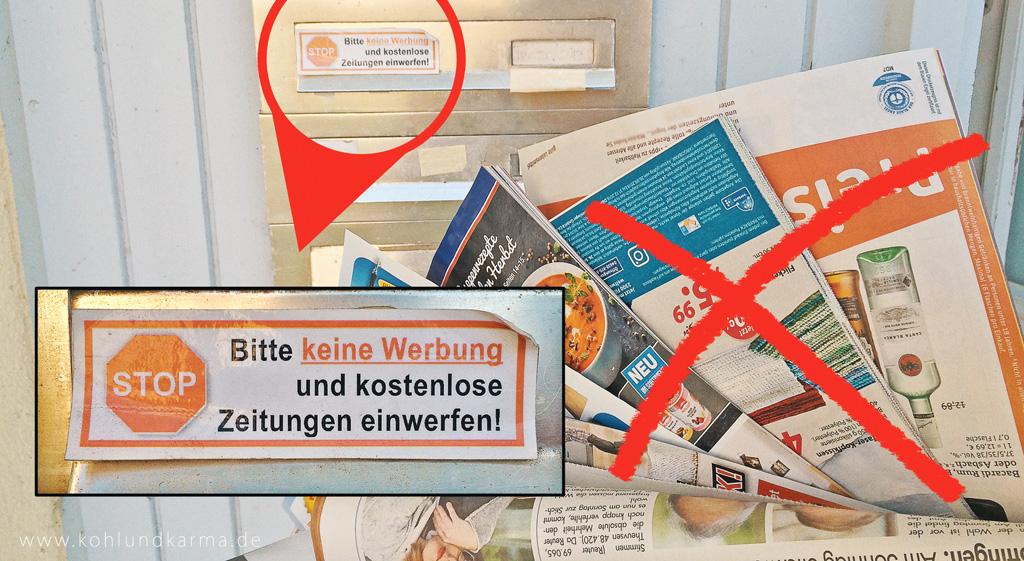 Ressourcen schonen Werbung vermeiden- kohlundkarma