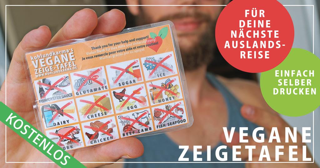 vegane Zeigetafel Taschenformat kleine Zeigebilder auf Reise kohlundkarma kohl und karma